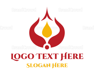 Cathedral - Red Arabian Flame logo design