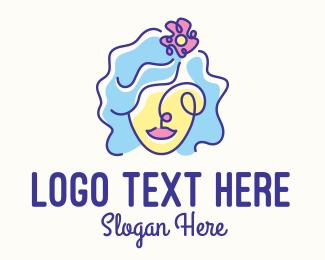 Facelift - Woman Scribble Flower logo design