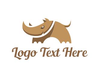 Fauna - Sharp Cartoon Rhino logo design