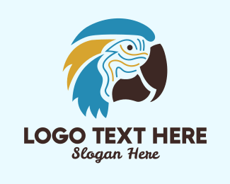 Feathers - Tropical Parrot Head  logo design