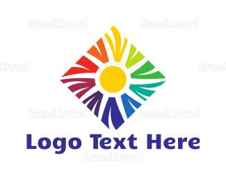 Sun - Rainbow & Sun logo design