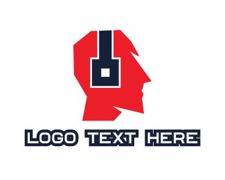 Listen - Geometric Audio DJ Headphones logo design
