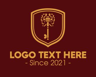Scorpion - Gold Scorpion Key Emblem logo design