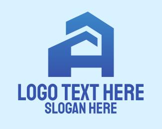Planning - Blue Building Letter A logo design