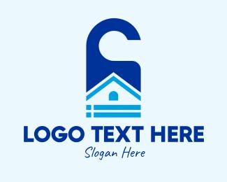Home Rental - Blue Home Door Tag logo design