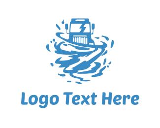 Van - Water Truck  logo design