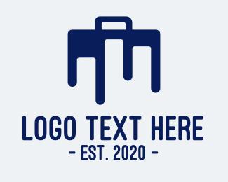 Businessman - Blue Briefcase Luggage logo design