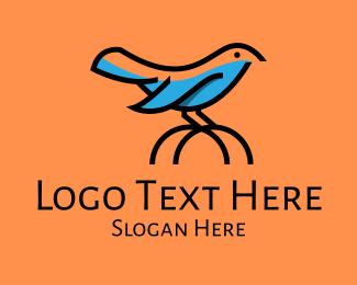 Blue Bird - Cute Little Blue Bird logo design