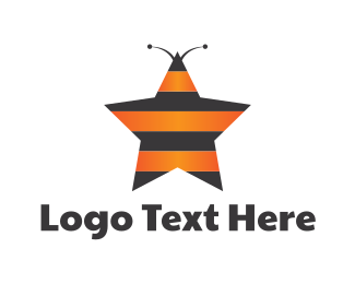 Insect - Star Bee Insect Stripes logo design
