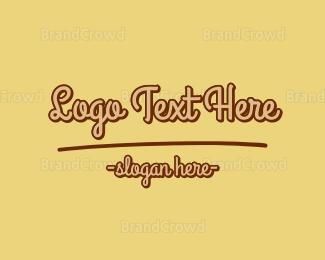 Bake Shop - Mustard Yellow Script logo design