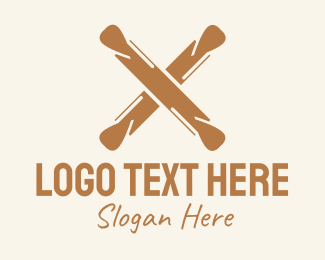 Baking Supplies - Brown Rolling Pin Letter X logo design