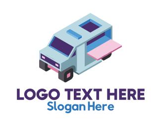 Creamery - Isometric Food Truck logo design