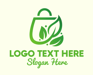 Shopping - Leaf Shopping Bag logo design
