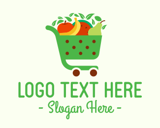 Grocery Delivery - Fruit Grocery Cart logo design