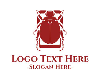 Ancient - Red Beetle logo design