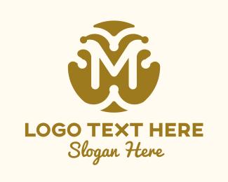 Accessory - Gold Fashion Letter M logo design