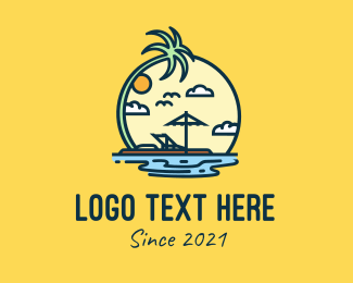 Sunbathing - Island Vacation  logo design