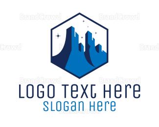 Air Travel - Blue Grand Canyon logo design
