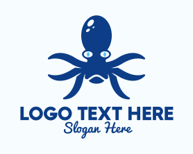 Squid - Blue Kraken Creature logo design