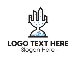 Sand Clock - Hourglass City logo design