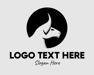 Numerology - Monochrome Bull Head logo design