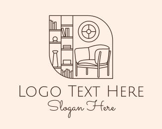 Living Room - Library Room Line Art logo design