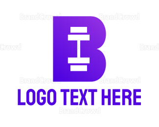 Buff - Violet Barbell B logo design
