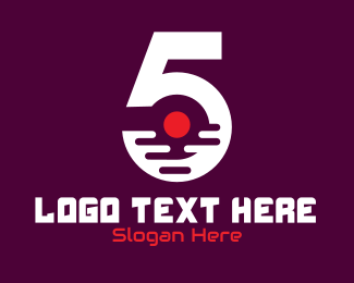 Five - Modern Number 5 logo design
