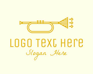 Brass Instrument - Golden Retro Trumpet logo design