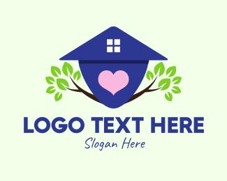 Eco Living - Natural Love House logo design