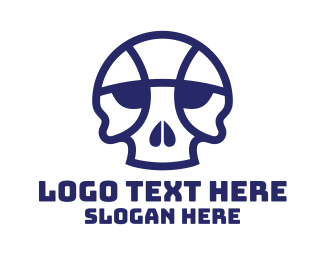 Basketball Court - Basketball Skull logo design