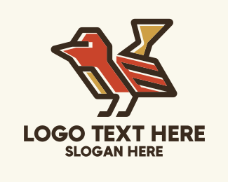 Fauna - Geometric Red Bird  logo design