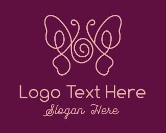 Peach - Minimalist Beauty Butterfly  logo design