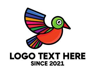Natural Reserve - Colorful Wing Bird logo design