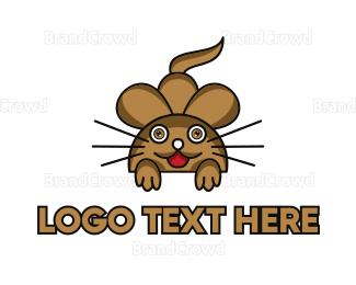 Mice - Brown Mouse Outline logo design