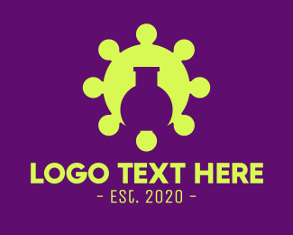 Science Lab - Green Virus Experiment logo design