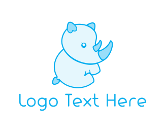 Baby Bottle - Blue Baby Rhino logo design