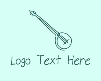 Banjo Lesson - Green Banjo Guitar logo design