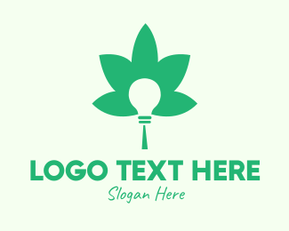 Hemp Extract - Green Cannabis Bulb logo design