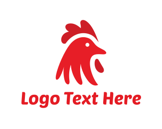 Hen - Red Chicken logo design