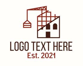 Real Estate - House Construction Line Art logo design