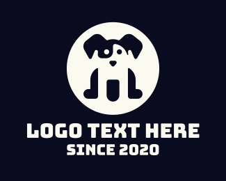 Negative Space - Black & White Dog logo design