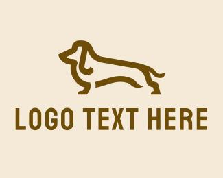 Brown - Brown Dachshund logo design