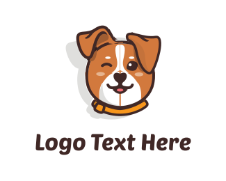 Brown Dog - Cute Dog logo design