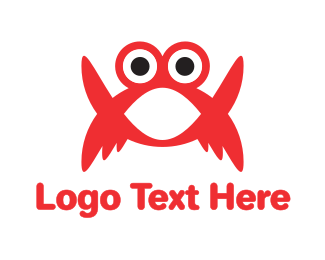 Crustacean - Red Crab Cartoon logo design