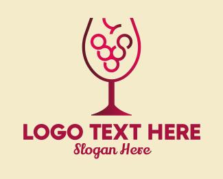 Sommelier - Grape Wine Glass  logo design