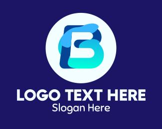 Initial - Blue Water Liquid Letter B logo design