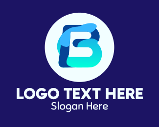 Element - Blue Water Liquid Letter B logo design