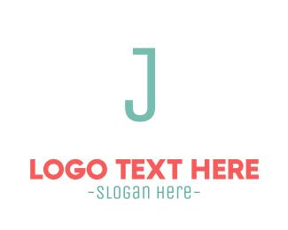 Striped - Turquoise Letter J logo design