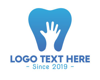 Dental - Blue Hand Tooth logo design